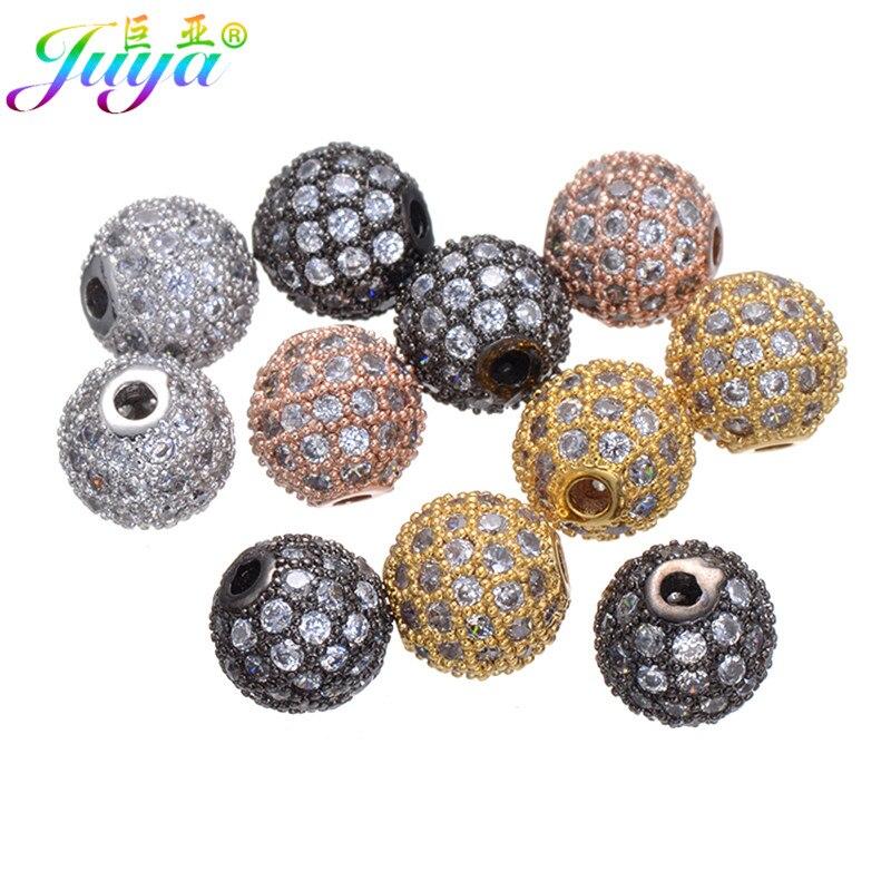 Bricolaje suministros de joyería pavimentado Zircon cobre encanto 8 mm bolas de bolas accesorios para piedras naturales pulseras collares pendientes que hacen