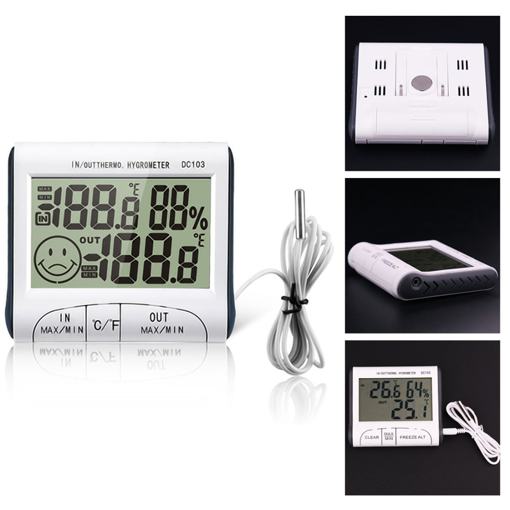 Hot!Weather Station Household Indoor and Outdoor Use Temperature Humidity Meter Temperature Display Thermometer Hygrometer