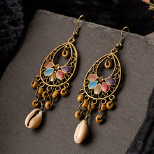 Boho Long Tassel Earrings Ethnic Circle Round Vintage Drop Earrings Women Gold Color Leaf Leaves Acrylic Hiphop Brincos Jewelry gold round leaf earrings