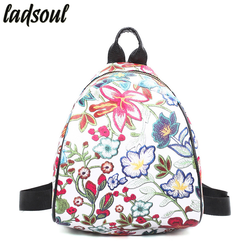 LADSOUL Women Backpacks Students School Backpacks Leather Backpacks Embroidery Flowers Good Quality Travel Backpacks A1333/g a three dimensional embroidery of flowers trees and fruits chinese embroidery handmade art design book