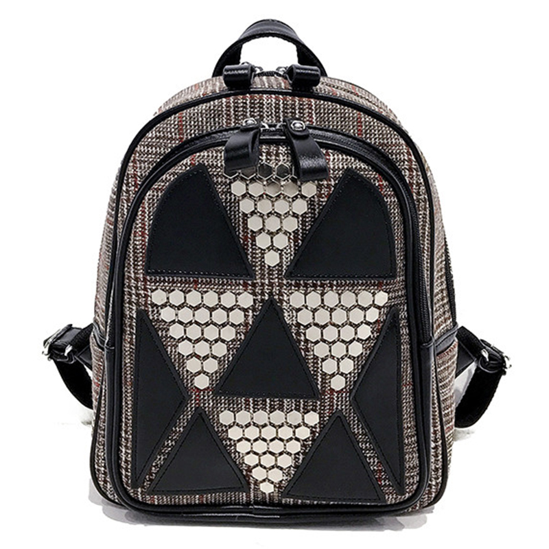 Rivets Women Backpack For Teenage Girls Fashion School Shoulder Bag Female Patchwork High Quality Leather&Wool BagPack Mochila