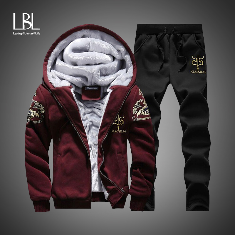 Winter Inner Fleece Hoodies Men Casual Hooded Warm Sweatshirts Male Thicken Tracksuit 2PC Jacket+Pant Men 1
