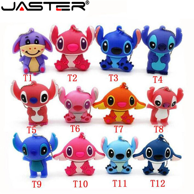 JASTER Lovely Mini Stitch  USB Flash Drive Pen Drive Gift  Animal Cartoon Pendrive 4GB/8GB/16GB/32GB/64GB Memory Stick