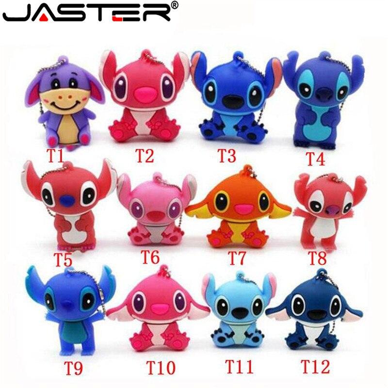 JASTER Lovely Mini Stitch  USB Flash Drive Pen Drive Gift  Animal Cartoon Pendrive 4GB/8GB/16GB/32GB/64GB Memory Stick
