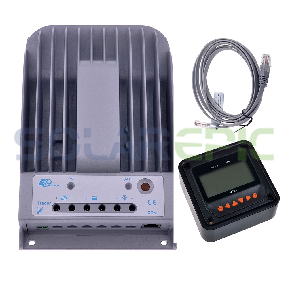 Contrôleur de Charge solaire MPPT 20A + compteur à distance MT50 Epever Max 150 V PV régulateur de panneau de batterie 12 V/24 V traceur BN chargeur solaire