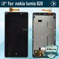 Para nokia lumia 820 screen display lcd de toque digitador com substituição assembleia quadro moldura preta