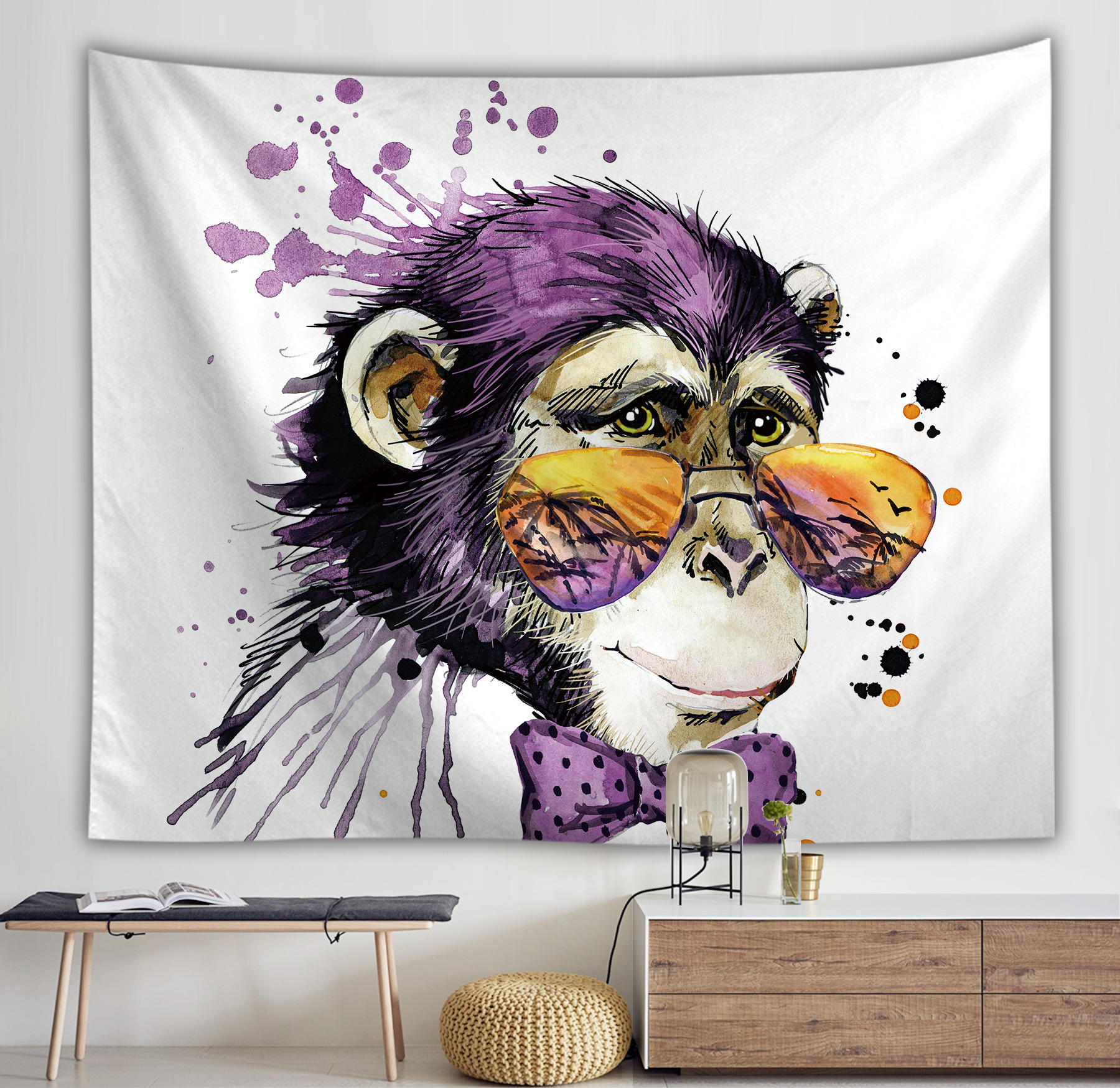 Wall fabric decoration Cartoon Glasses monkey wall tapestry art Printed wall hanging decor 100% Polyester