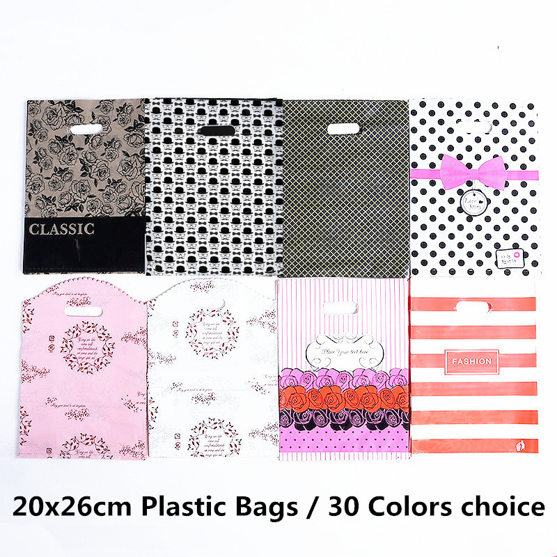 10pcs 20x26cm Plastic Package Bag Party Supplies Gift Bags With Handles Jewelry Cookies Gift Bag Plastic Print Shops Storage Bag