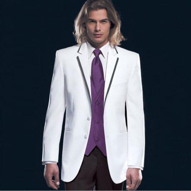 2016  White Groom Tuxedos Lapel Best Man Groomsmen Men Wedding Suits Bridegroom
