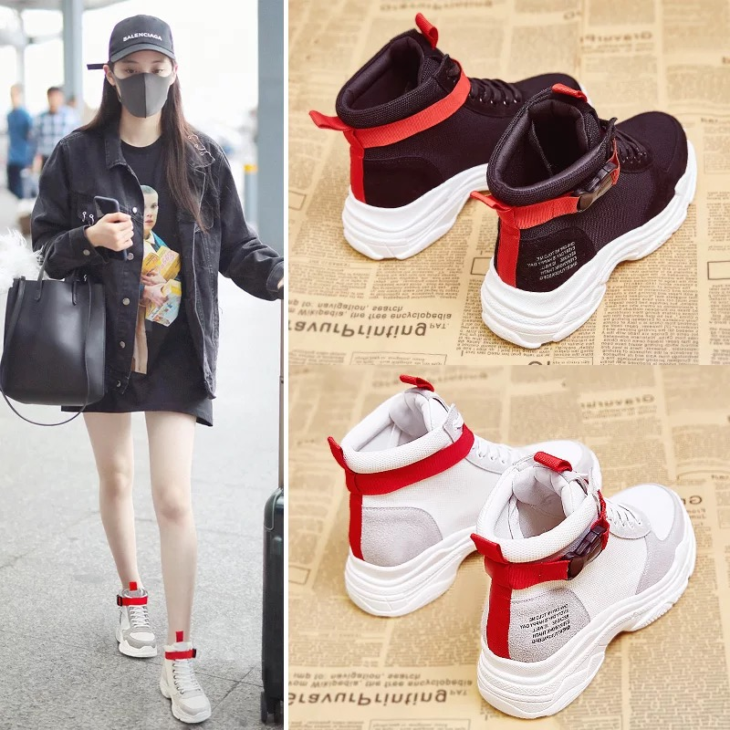 Dumoo Nouvelles Chaussures Sneakers Femmes Automne Vache En Cuir Lady Casual Chaussures Ruban Loisirs Chaussures Plate-Forme Coins Talon 5.5 cm Fille chaussures