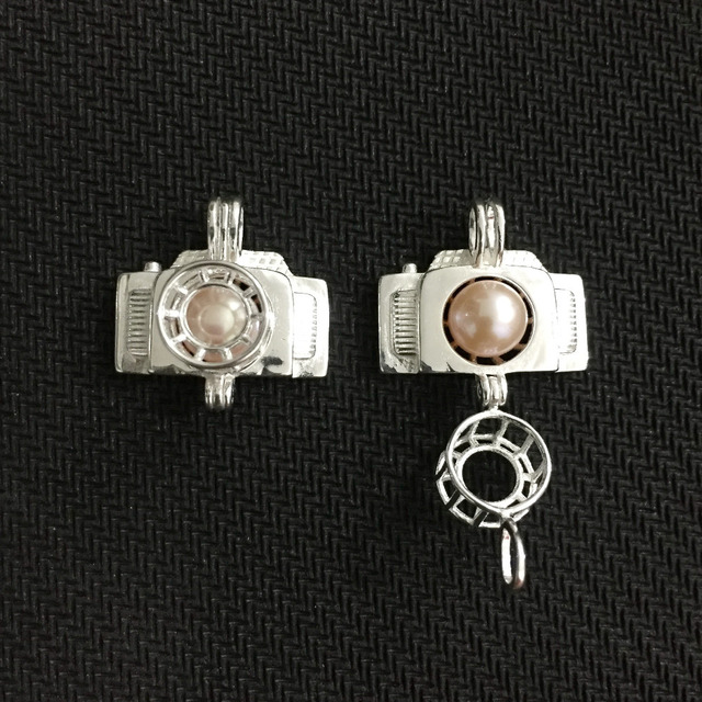 New design camera pearl pendant mounting 925 sterling silver locket new design camera pearl pendant mounting 925 sterling silver locket cage pendant can open aloadofball Image collections