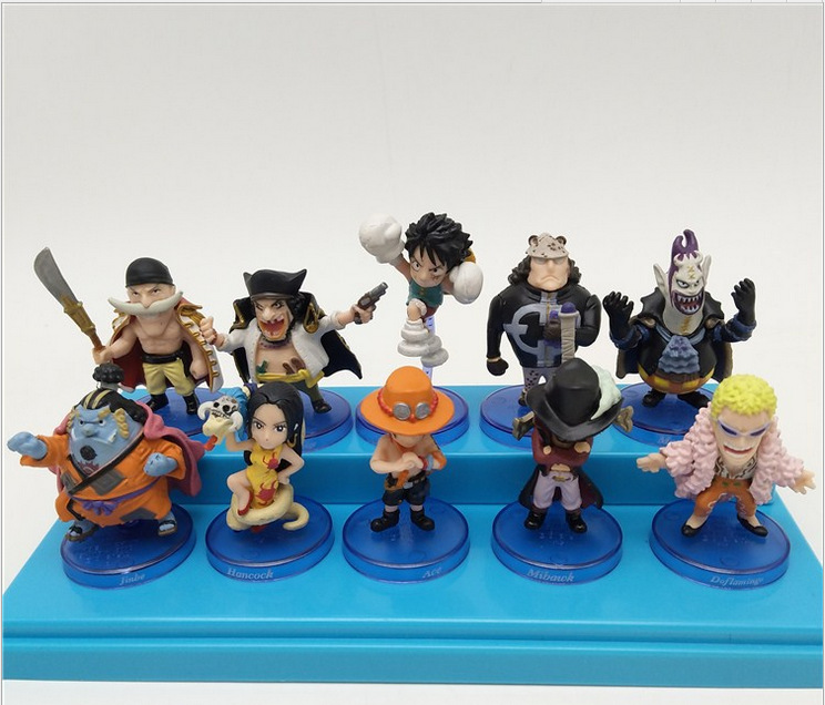 10pcs/lot 6-8CM Japanese anime figur <font><b>one</b></font> <font><b>piece</b></font> Q version <font><b>luffy</b></font>/Portgas D Ace action figure collectible model toys for boys image