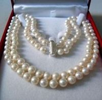 FREE SHIPPING 2 Rows AA 8 9MM AKOYA SALTWATER PEARL NECKLACE 17 18 A0501