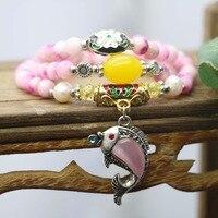 8mm Popular Pink Chalcedony Peach Stone Bracelet Hand Chain For Women Girls Natural Pendant Dolphin Tibet