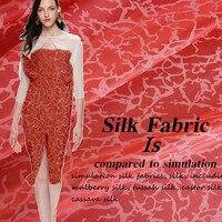 Customized 114cm Width Red Leopard Flower 100 Silk Cotton Satin Chiffon Gauze Cloth Fabric Shirt Coat