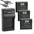 DSTE 3PCS DMW-BLH7E Li-ion Battery + UDC120 USB Port Charger For Panasonic Lumix DMC-GM1 DMC-GM1K Camera