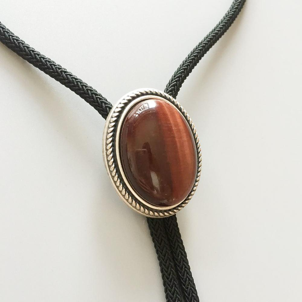 New Original Vintage Silver Plated Nature Red Tiger Eye Stone Western Oval Bolo Tie BOLOTIE-024 Also Stock In US