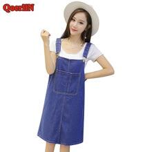 цена на QoerliN Front Pocket Strap Denim Dress Female Summer Fashion Sundress Girls Split Loose Casual Jeans Women Clothing Plus Size