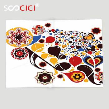 Custom Soft Fleece Throw Blanket Abstract Colorful Graphic Design of Floral Motifs Hearts Music Notes Dots Ornamental Art