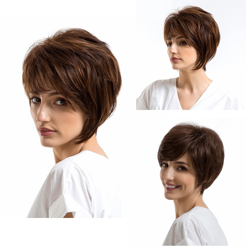 цена на 2018 Wig Natural Women Short Texture BrownHair Wigs Slight Wig Human Hair Female Wigs