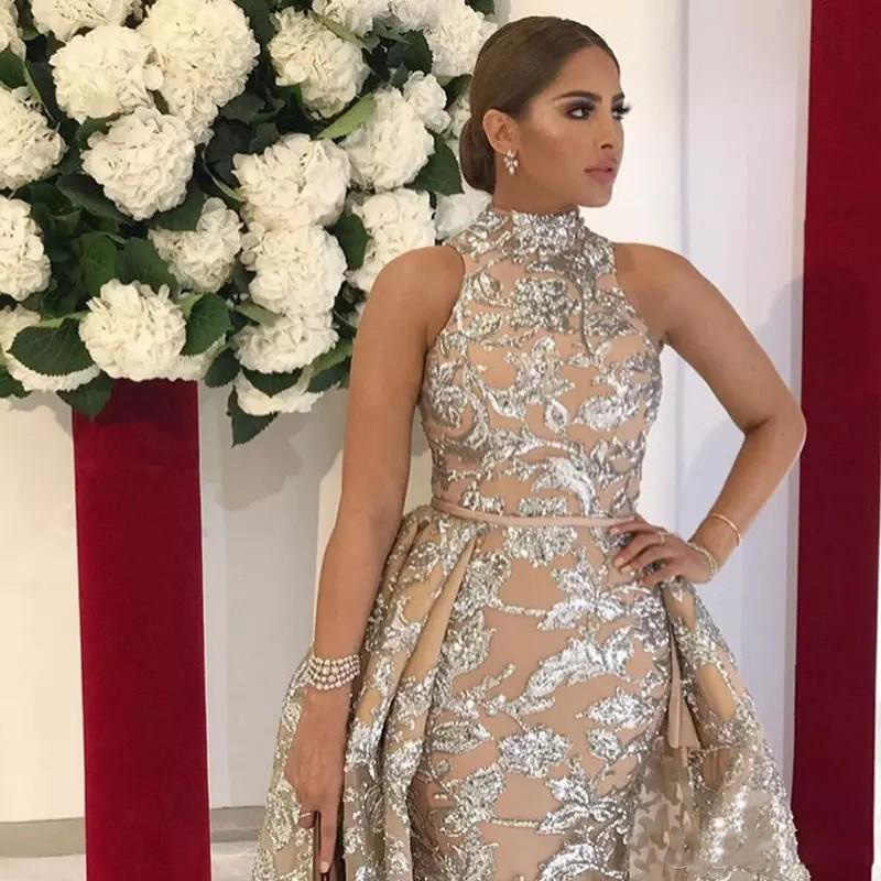 d9e843d794 Amazing Sequined Appliques Mermaid Overskirt Evening Gowns 2018 Dubai  Arabic Fashion High Neck Prom Gowns Formal Party Dress