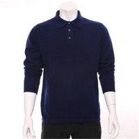 100% козья кашемировые тонкие трикотажные мужские весна осень smart casual пуловер свитер поло воротник темно синие 2 вида цветов S 2XL