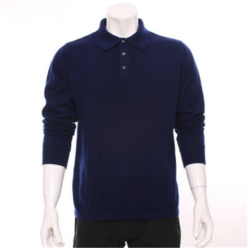 100%goat Cashmere Thin Knit Men Spring Autumn Smart Casual Pullover Sweater POLO Collar Dark Blue 2color S-2XL
