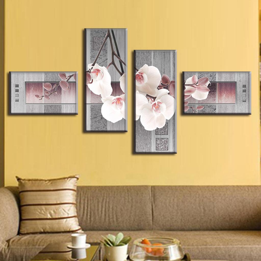 4 Pcs/Set Abstract Canvas Wall Art Picture The Phalaenopsis In Gray ...