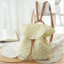 Summer Drawstring Lace Beach Bags Popular Handmade Rattan Backpacks Women Straw Bohemia  Wicker