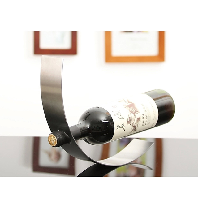 Crescent Shaped Contemporary Curved Metal Wine Bottle Rack Holder Floating Contempory Art Rocking