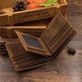 Homens Titular do Cartão Carteira Do Couro Do Vintage de Couro de Cavalo Louco Bolsa de Couro Genuíno Com Três Dobras Curto Carteria Bolsa Masculina 6021