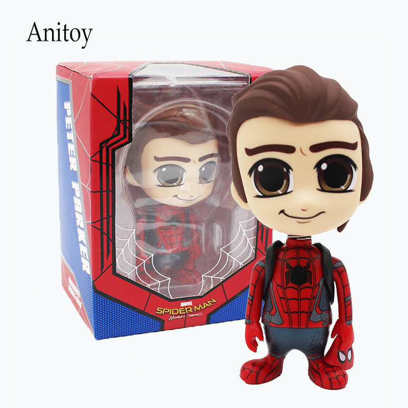 Spider-Man Homecoming Cute Spiderman Marvel PVC Action Figure Collectible Toy Doll 10.5cm KT4211