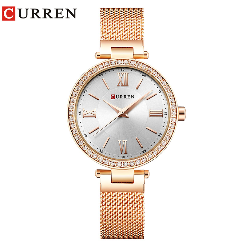 Image 2 - CURREN Rose Gold Watch Women Watches Ladies Stainless Steel Women's Bracelet Watches Female Relogio Feminino Montre Femme 9011-in Women's Watches from Watches