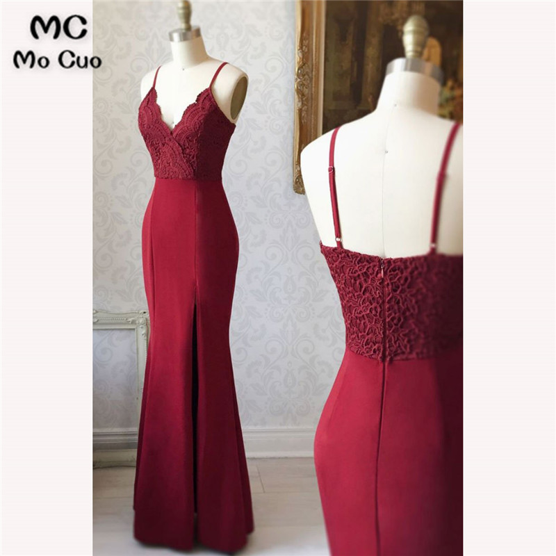 2018 Burgundy Bridesmaid Dresses Long Spaghetti Straps Wedding Party Dress Lace Mermaid Bridesmaid Dresses For Women