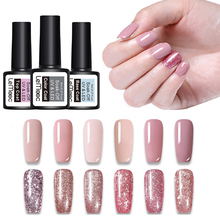 1 Bottle 8ml Rose Gold Gel Glitter Shining Sequins Soak Off LED UV Manicure Nail Art Polish Lacquer