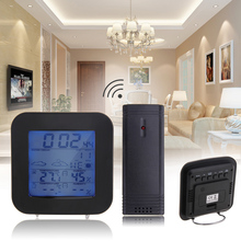 Best Buy LCD Wireless Weather Station Sensor Digital Thermometer Hygrometer Temperature Humidity Meter Gauge Snooze Alarm Clock