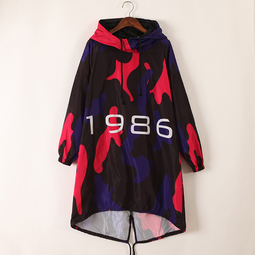 2019 New Coat Female Aautumn Hooded   Trench   loose print windbreaker women's coats spring and autumn irregular long fashion   Trench