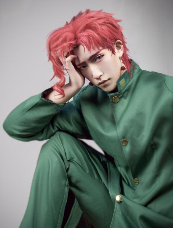 Kakyoin Noriaki From JOJO 14 Red Curly Short High Temperature Fiber Syntheitc Hair Cosplay Wig+wig cap
