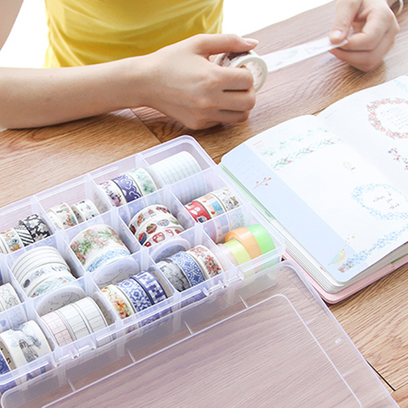Coloffice Simple style 15 Fractional tape storage box transparent paper washi tape box  school stationery holder home decoration