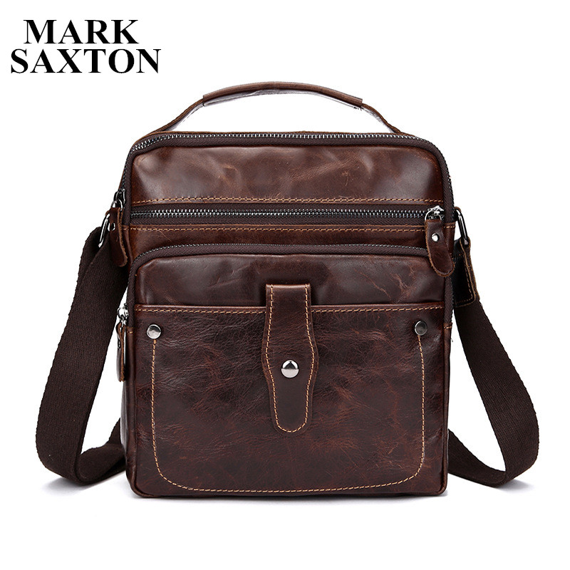 Vintage Classic brand designer Genuine leather bag First layer of Oil Cow leather shoulder crossbody bags men messenger bags