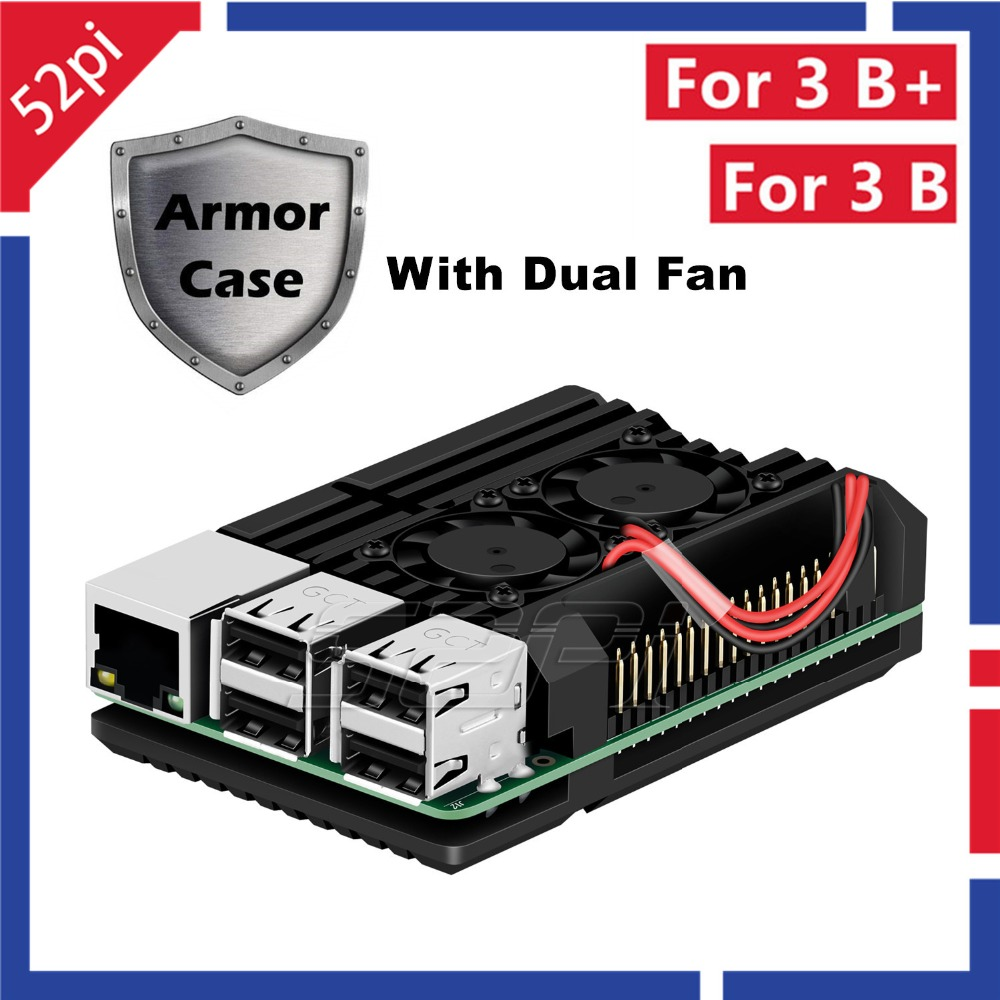 52Pi Raspberry Armor Case Aluminium Alloy Metal Case With Dual Fan Cooling Heatsink for Raspberry Pi 3B Plus (3 B+) / 3 Model B abs case with cooling fan heatsink removable top cover