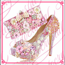 Aidocrystal Handmade pink Shoes And Match Bag Set Rhinestone Flower Peacock Wedding Shoes For Bridal