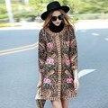 Mulheres desfile de moda 2016 outono estilo China bordado real 3/4 manga trench coat plus size do vintage senhora elegante casaco S-3XL