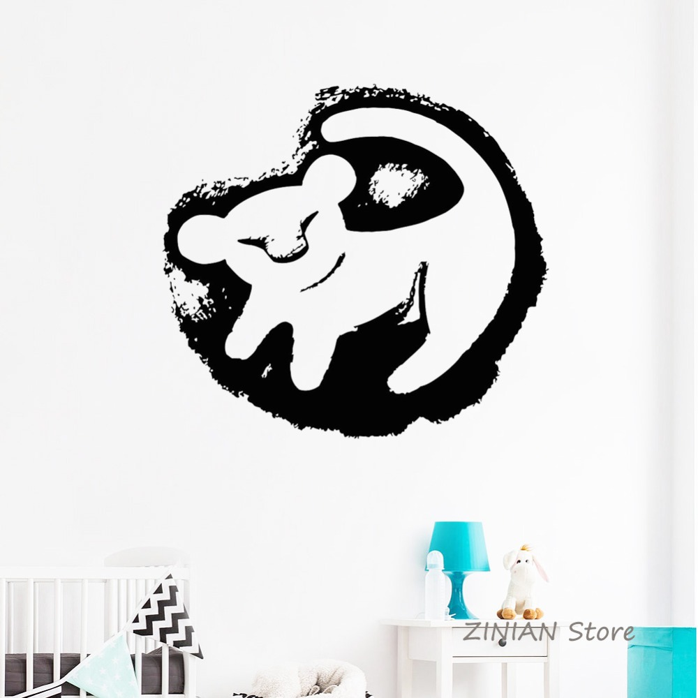 Lion King Baby Simba Wall Decal Vinyl Sticker Kids Room Removable Girls Boys Nursery Wall Stickers  sc 1 st  AliExpress.com & Lion King HAKUNA MATATA Simba Home Decor Wall Decal Car Mobile Phone ...