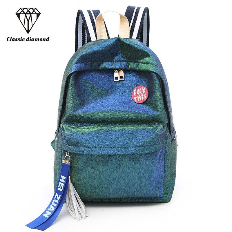 Fluorescent gradient Backpack Women Nylon Shoulder School Bags For Teenage  Girls Small Tassel Travel Backpack Female Rucksack-in Backpacks from  Luggage ... b35bbc158b3d4