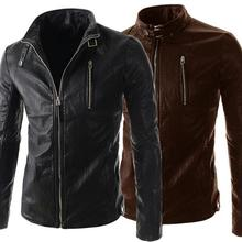 Black brown 2016 spring motorcycle PU leather jacket men leather clothing short coats fashion slim zipper stand collar M 2XL