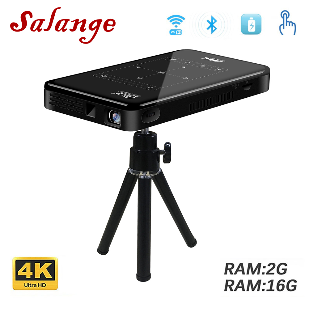 Salange Mini Projector For Android WIFI Bluetooth 4000mAh battery Support Miracast Airplay Handheld Mobile Projector 2G