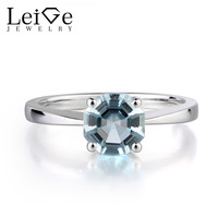 Leige Jewelry Natural Aquamarine Gemstone 925 Sterling Silver Octagon Cut Engagement Solitaire Rings For Woman March Birthstone