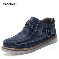 VESONAL Autumn Winter Genuine Leather Casual Men Shoes Snow Warm Velvet Vintage Classic Male Platform Thick