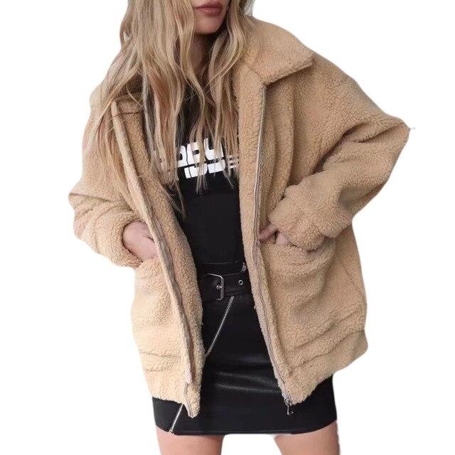 Women Fashion Fluffy Shaggy Faux Fur Winter Coat Warm